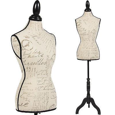 Female Mannequin Torso Dress Form Display W Black Tripod Stand Designer Pattern