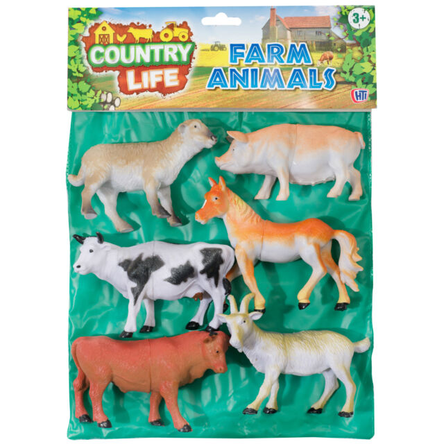 "COUNTRY LIFE - Pack of 6 LARGE Plastic 5"" Farm Animals"