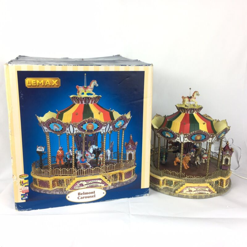Lemax Village Collection Belmont Carousel Animated Musical Merry-Go-Round