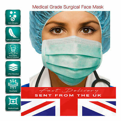 10 Pcs Disposable Face Masks Medical Mask Surgical Mask UK NOSE BAND FIT