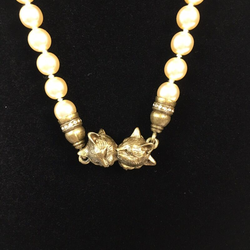 Brass Faux Pearl Cat Clasp Necklace Magnetic Rhinestone Kitty Fancy Cat Lady