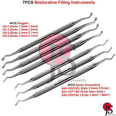 7pcs Composite Dental Spoon Excavator Plugger Filling Instruments Restoration