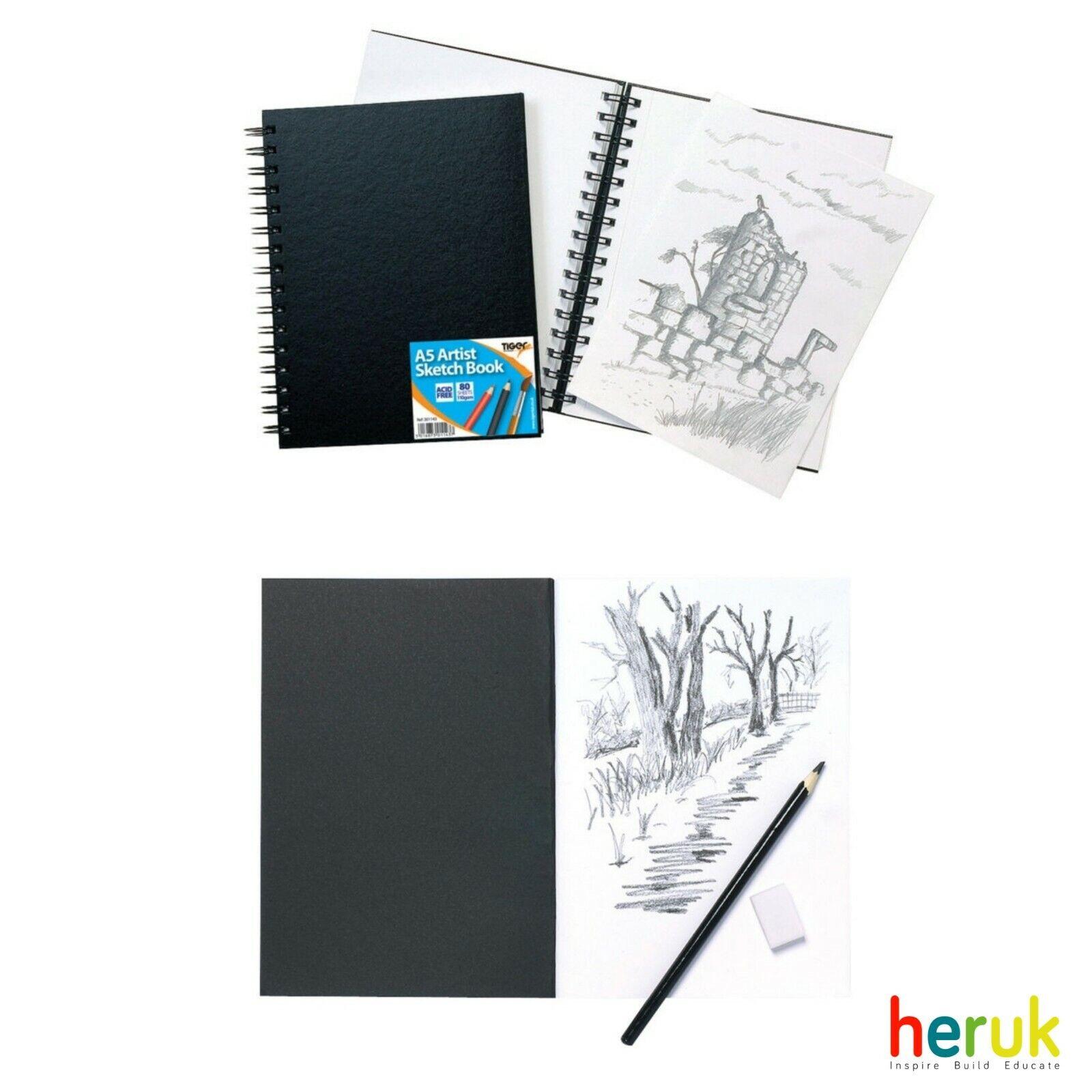 5 x A4 Artist Sketch Books White Cartridge Paper Black Card Cover Art Pads