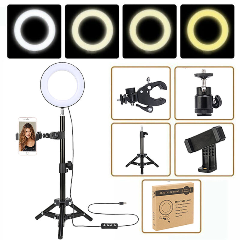 """6"""" Selfie Ring Light Mount Folding Tripod stand For Live YouTube Video Photo"""