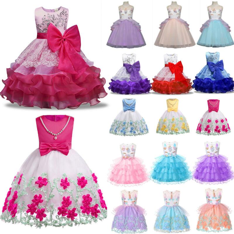 Kinder Baby Blumenmädchen Festkleid Hochzeit Swing Prinzessin Tutu Partykleider