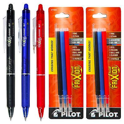 Pilot Frixion Clicker Erasable Gel Ink Pens 3 Pens With 2 Pk Of Refills