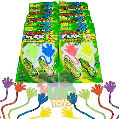 Sticky Hands Toy (12 BIG Sticky Hands Birthday Party Favors Toy Party Supplies Bag)