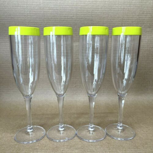 Tupperware Chic Dining Champagne Flute Set of 4 Acrylic Green New