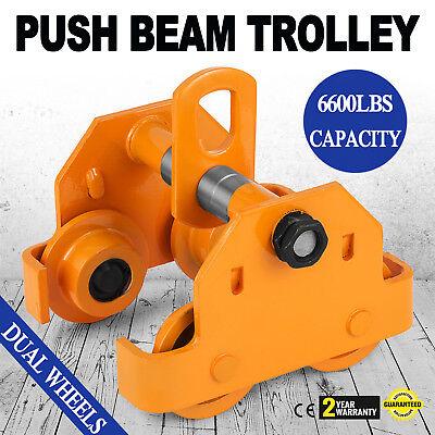 3 Ton Push Beam Track Roller Trolley Winch Heavy Loads Handling Tool