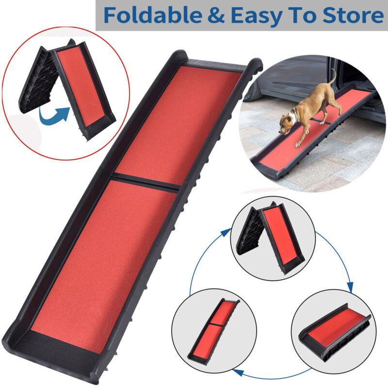 "61"" Bi-fold Non-slip Carpet Non-Skid Pet Ramp Cat Dogs Ladder Car RV Sofa Bed"