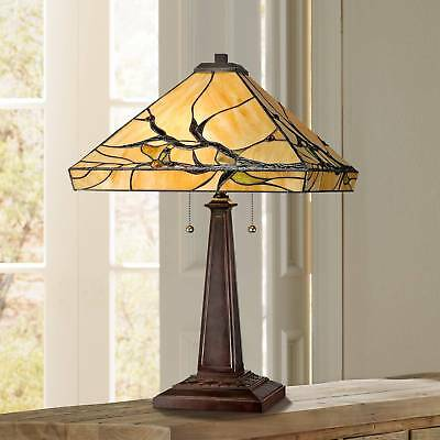 Tiffany Style Table Lamp Mission Bronze Tree Branch Glass Living Room Bedroom ()