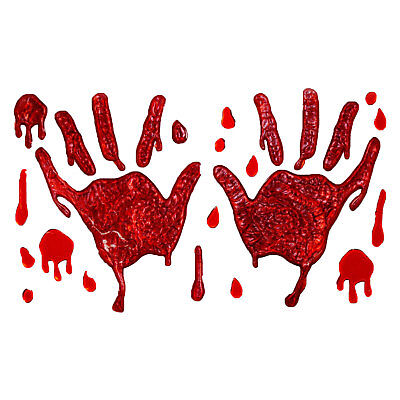 Scream Machine Bloody Hands Gel Window Stickers Easy Peel Halloween Decorations - Halloween Party Decorations Easy