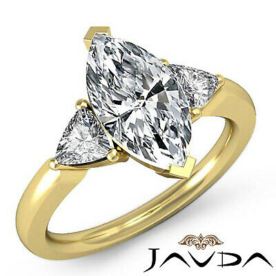 Trillion Cut 3 Stone Marquise Natural Diamond Engagement Ring GIA I SI1 1.55 Ct 3
