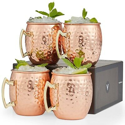 VonShef Set of 4 Moscow Mule Copper Mugs Barrel Style Hammered with Gift Box