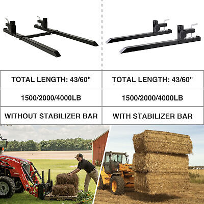 43 60 1500lbs 2000lbs 4000lbs Pallet Forks Clamp-on For Loader Bucket Tractor