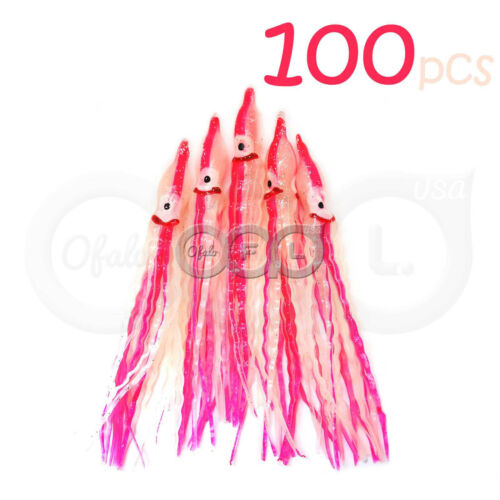 "100pcs 5"" Squid Skirts Wave Hoochies Fish Soft Lure Octopus Rock Bait Glow Pink"