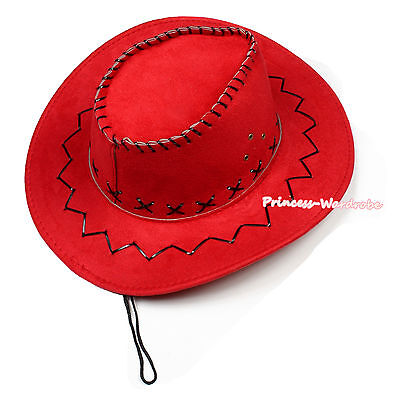 Children Size Red Western Cowboy Hat Cattleman Unisex Kids Costume for Party