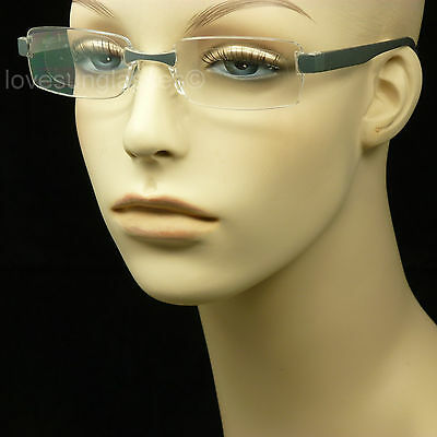 Reading glasses men women rimless frame lens power strength magnify new