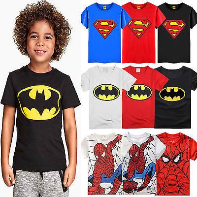 Kids T-Shirt Boys Short Sleeve Superman Batman Summer Tops Clothes 2-7 Y Summer