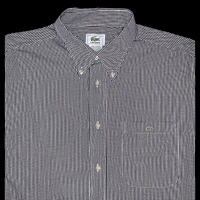 Lacoste Black White Mini Check Short Sleeve Mens Button Down Shirt Size L 42
