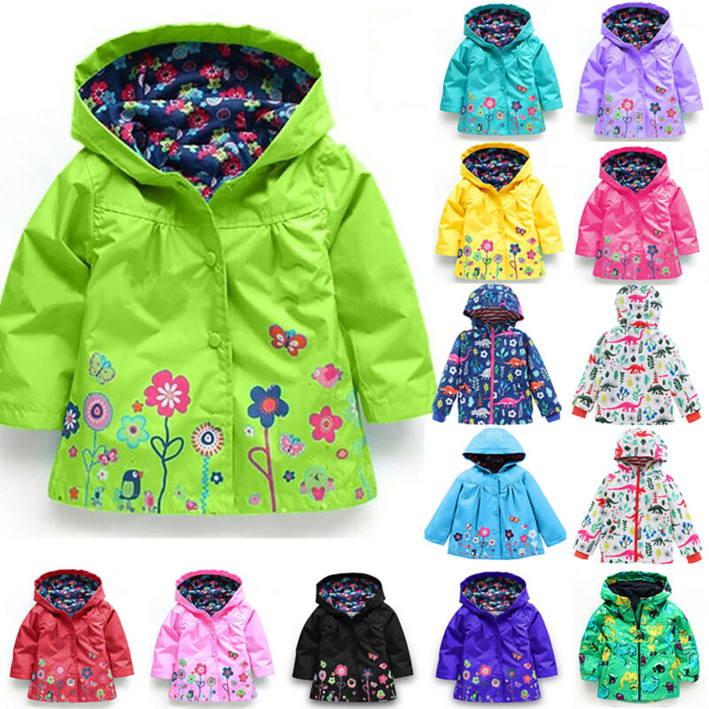 Kids Girls Hooded Waterproof Jacket Coat Floral Outerwear Ra