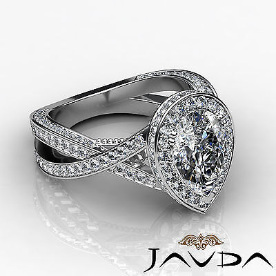 Cross Shank Milgrain Edge Halo Pear Cut Diamond Engagement Ring GIA G VS2 2.45Ct 2