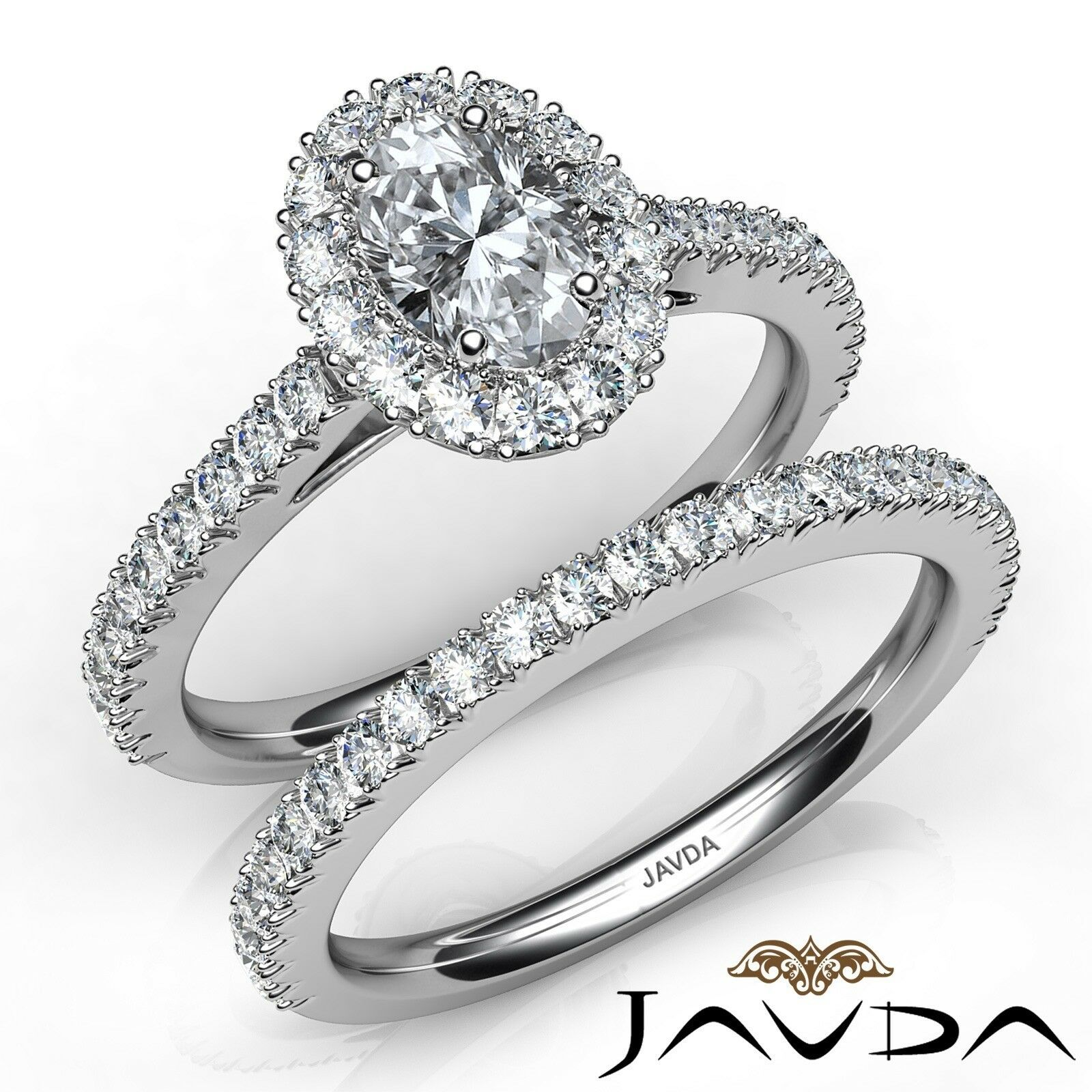 2.2ct Halo Bridal Set French Pave Oval Diamond Engagement Ring GIA F-VVS2 W Gold