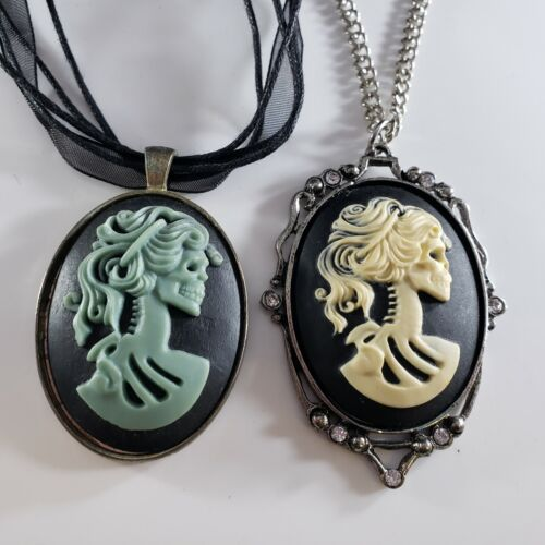 Halloween Costume Accessory Necklace Lot Cameo Style Skeleton Woman Ribbon 🎃