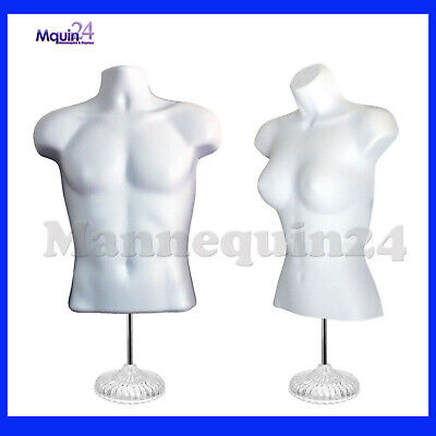 White Mannequin Male Female Dress Forms With 2 Table Top Stands 2 Hangers