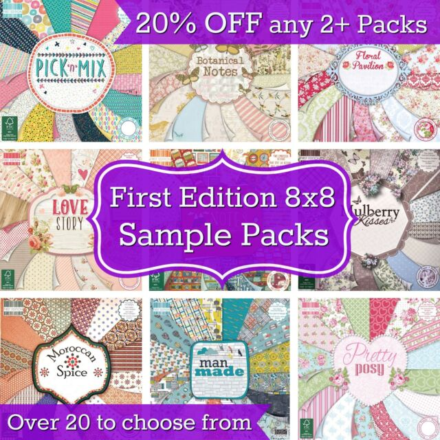FIRST EDITION 8x8 paper PICK N MIX SAMPLE PACKS 16 Sheets 200gsm cardstock