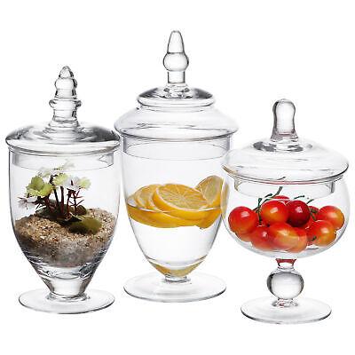 3 Piece Clear Glass Apothecary Decorative Jars Centerpiece Candy Vase - Candy Jar