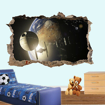 EARTH STAR SPACESHIP WARS  WALL STICKERS 3D ART MURAL COOL OFFICE HOME DECOR UK6