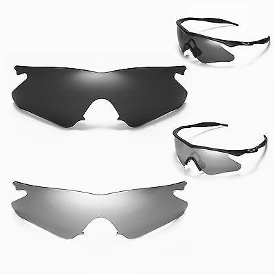 Walleva Polarized Titanium + Black Lenses For Oakley M Frame Heater (Titanium Frame Sunglasses)