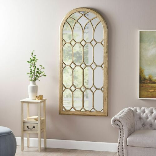 Selena Traditional Arched Windowpane Mirror Home & Garden