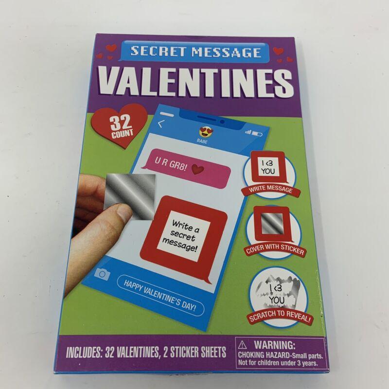 32 Secret Message Stickers Classroom Valentine Exchange Cards