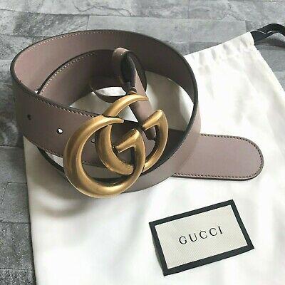 Gucci gg marmont ceinture rose poudré cuir taille 70 détail fabriqué en italie