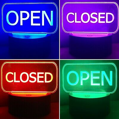 Interchangeable Open Closed Lighted Led Signs With 1 Remote1 Base And Usb Cord