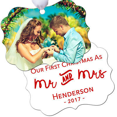 Couples First Christmas Ornament Personalized - Wedding Photo Keepsake (Couples First Christmas Ornament)