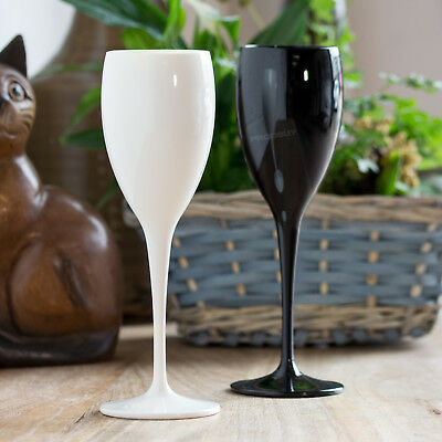 Set of 2 Black & White Champagne Glasses Wedding Polycarbonate Flutes Prosecco](White Plastic Champagne Flutes)
