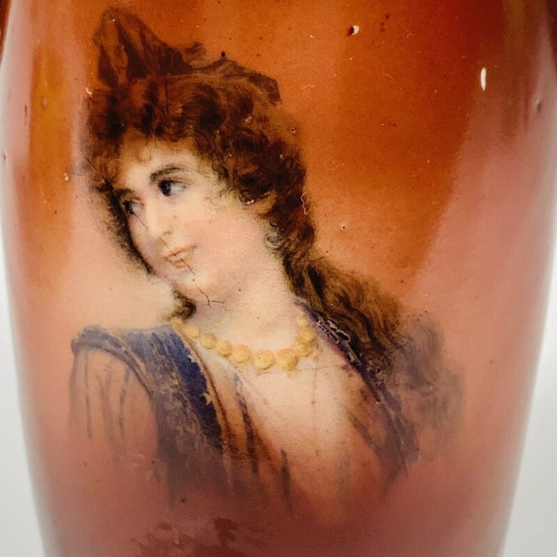 "Antique Czecho Slovakia Handpainted Portrait  Vase w/Handles, 5 1/2"" Tall"