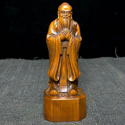 Chinese Boxwood Carved Confucianism Founder Confucius Collectible Old Statue