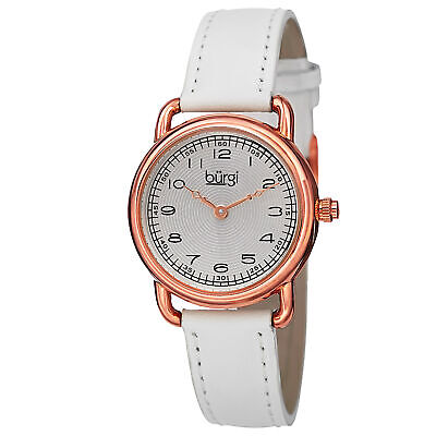New Women's Burgi BUR121WTR Classic Easy-to-Read White Genuine Leather Watch