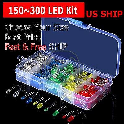 150300 Pcs 3mm 5mm Led Light White Yellow Red Green Assortment Kit For Arduino
