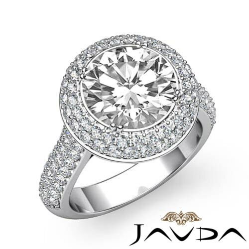 3ct Round Halo Pave Diamond Engagement Ring GIA Certified F VS2 14k White Gold