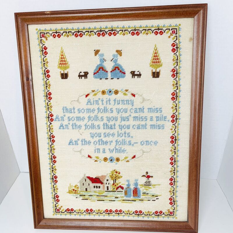 Vintage Completed Embroidery Framed Cross Stitch Sampler Windmill Homestead