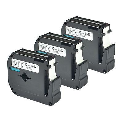 3pk Mk231 Black On White For Brother 12mm M-k231 M231 Tape Pt-70 Label Maker