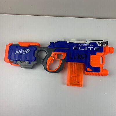 NERF N-strike Elite Hyperfire Blaster MOTORIZED SEMI AUTOMATIC SOFT DART GUN EUC