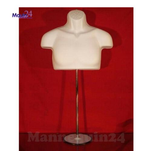 Male Torso Mannequin Form - White w/ Metal Base