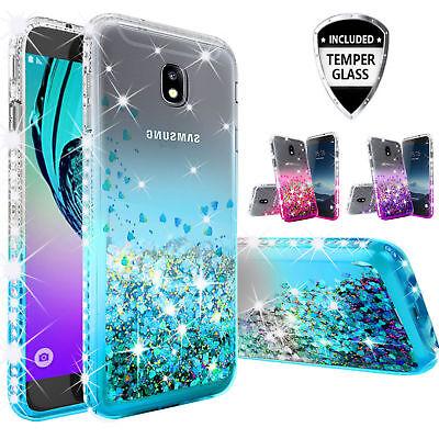 Samsung Galaxy J7 Crown (S767VL), J7 Top, Case Rhinestone Liquid Glitter Cover
