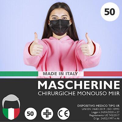 50 Mascherine CHIRURGICHE Nere Mascherina Chirurgica Monouso FILTRANTI 3 Strati